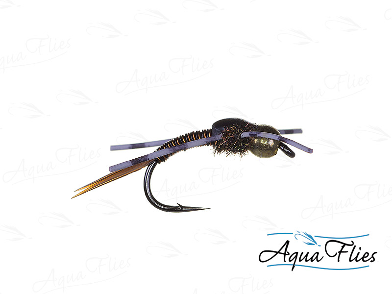 17029 TDF Bead Head Copper John, White Rubber Legs, Copper