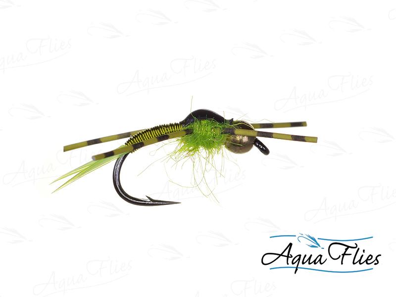 17027 TDF Bead Head Copper John, Chartreuse Rubber Legs, Chartreuse