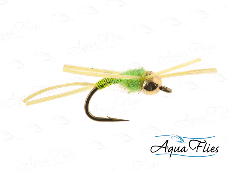 17053 TDF Bead Head Wire Bug, Yellow Rubber Legs, Chartreuse