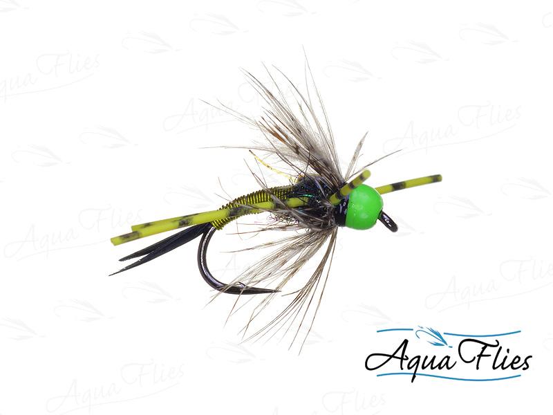 17073 TDF Bead Head Vitamin D, Chartreuse Rubber Legs, Chartreuse