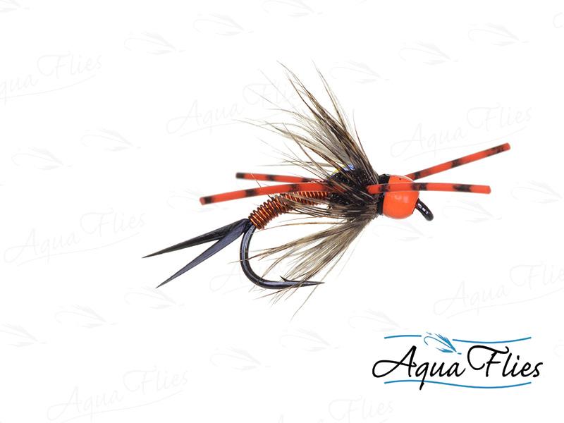 17074 TDF Bead Head Vitamin D, Fl. Orange Rubber Legs, Copper/Orange