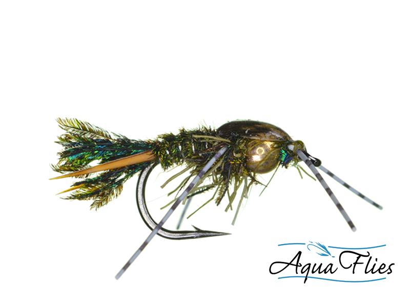 17010 TDF Bead Head Zug Bug Rubber Legs, Peacock