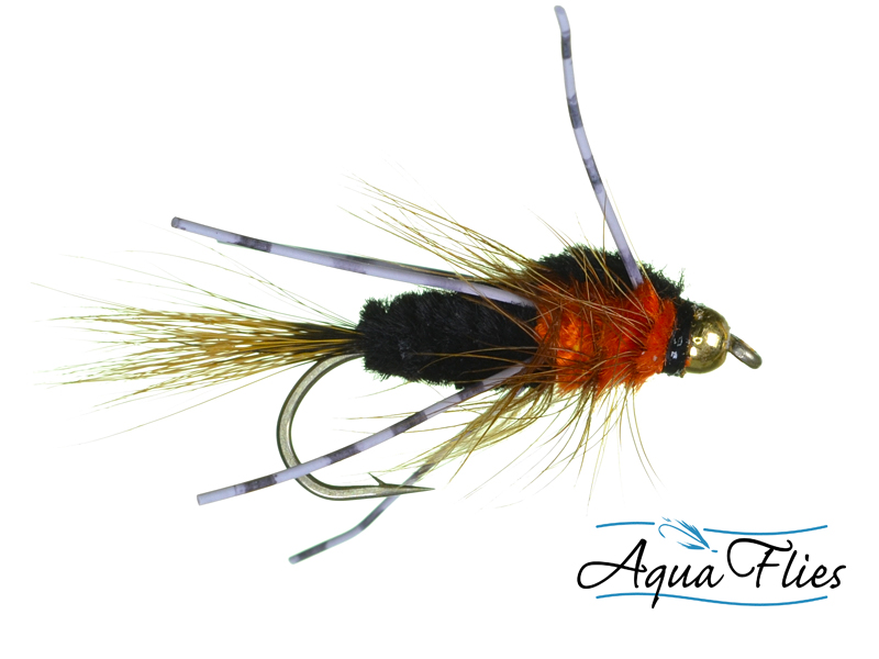 17001 Bead Head Pepperoni Bug, Black/Orange