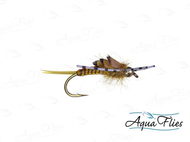 17049 TDF Bead Head Stone'd 2 Rubber Legs, Golden