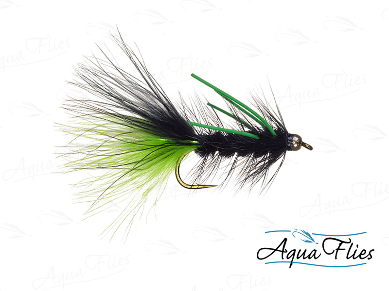 17065 TDF Bead Head Black and Chartreuse Wooly Bugger